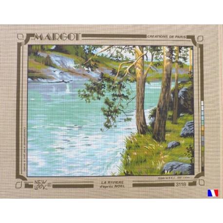 Canevas à broder 50 x 65 cm marque MARGOT création de Paris la rivière d'après Noël fabrication française