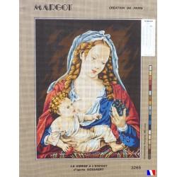 Canevas à broder 50 x 65 cm marque MARGOT création de Paris la vierge à l'enfant d'après Gossaert fabrication française