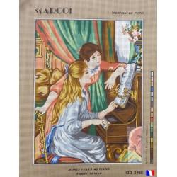 Canevas à broder 50 x 65 cm marque MARGOT création de Paris jeunes filles au piano fabrication française