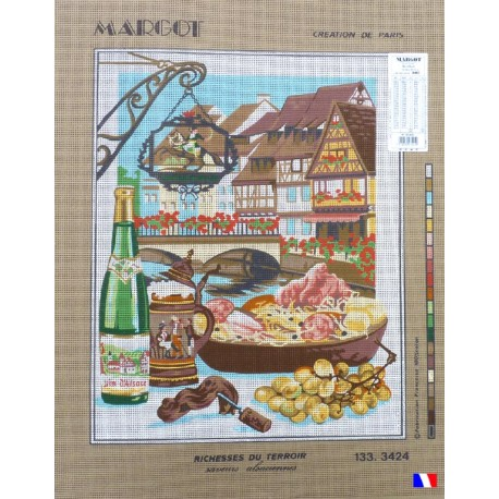 Canevas à broder 50 x 65 cm marque MARGOT création de Paris richesses du terroir saveurs d'alsaciennes fabrication française