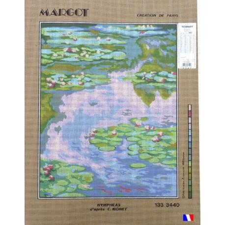 Canevas à broder 50 x 65 cm marque MARGOT création de Paris nymphéas d'après C.Monet fabrication française