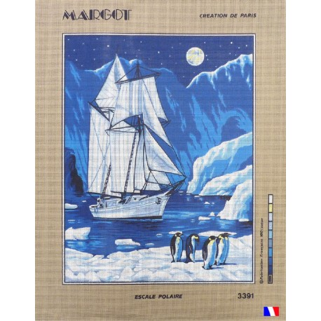 Canevas à broder 50 x 65 cm marque MARGOT création de Paris escale polaire fabrication française