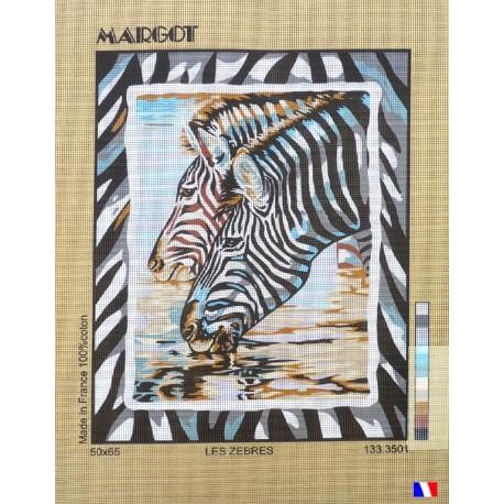 Canevas à broder 50 x 65 cm marque MARGOT création de Paris les zèbres fabrication française