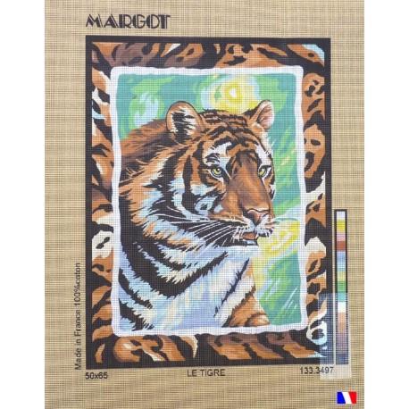 Canevas à broder 50 x 65 cm marque MARGOT création de Paris le tigre fabrication française