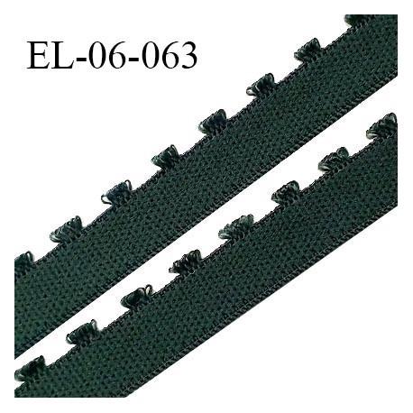 Elastique 6 mm lingerie haut de gamme couleur vert lichen fabriqué en France largeur 6 mm + 2 mm picots prix au mètre