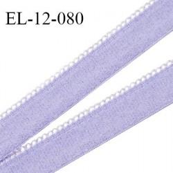 Elastique 12 mm lingerie haut de gamme couleur lavande fabriqué en France largeur 12 mm + 2 mm picots prix au mètre