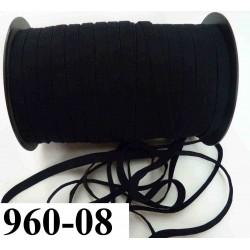 élastique plat épaisseur  largeur 08 mm couleur noir vendu au mètre