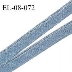 Elastique 8 mm lingerie haut de gamme fabriqué en France couleur bleu avec liseré brillant largeur 8 mm prix au mètre