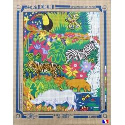 Canevas à broder 50 x 65 cm marque MARGOT création de Paris Eden tropical au zèbre fabrication française