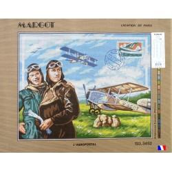 Canevas à broder 50 x 65 cm marque MARGOT création de Paris L'aéropostal fabrication française
