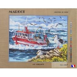 Canevas à broder 50 x 65 cm marque MARGOT création de Paris Les goélands fabrication française