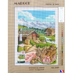 Canevas à broder 50 x 65 cm marque MARGOT création de Paris Richesses du terroir saveurs montagnardes fabrication française