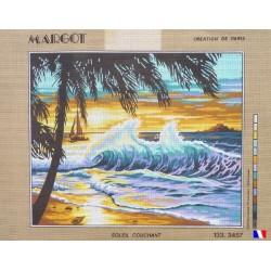 Canevas à broder 50 x 65 cm marque MARGOT création de Paris Soleil couchant fabrication française
