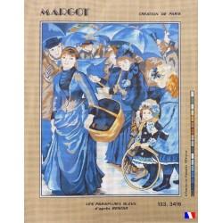 Canevas à broder 50 x 65 cm marque MARGOT création de Paris Les parapluies bleus d'après RENOIR fabrication française