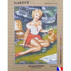 Canevas à broder 50 x 65 cm marque MARGOT création de Paris  Pin up américaine le pique nique fabrication française