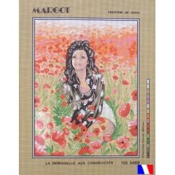 Canevas à broder 50 x 65 cm marque MARGOT création de Paris La demoiselle aux coquelicots fabrication française