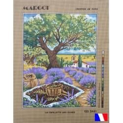 Canevas à broder 50 x 65 cm marque MARGOT création de Paris La cueillette des olives fabrication française