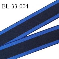 Elastique 33 mm spécial lingerie sport et caleçon couleur noir  et bleu électrique doux au toucher haut de gamme prix au mètre