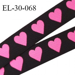 Elastique 30 mm spécial lingerie sport et caleçon couleur noir avec coeurs doux au toucher haut de gamme prix au mètre