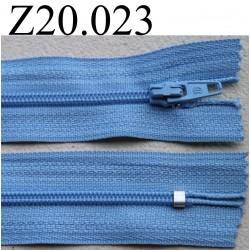 fermeture éclair longueur 20 cm couleur bleu non séparable zip nylon largeur 2.5 cm