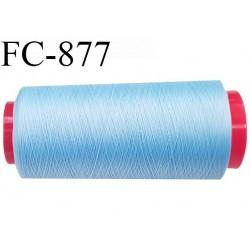 Cone 5000 m fil mousse polyamide n°120 couleur bleu ciel longueur 5000 mètres  bobiné en France