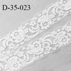 Dentelle 35 mm lycra extensible couleur blanc et argent largeur 35 mm prix au mètre