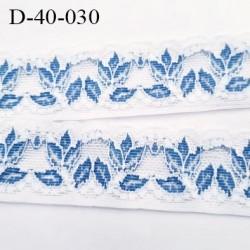 Dentelle 40 mm lycra extensible couleur blanc et fleurs bleu largeur 40 mm prix au mètre