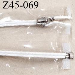 fermeture zip 45 cm transparente séparable glissière nylon argenté  largeur 3cm largeur de la glissière 6 mm curseur en métal