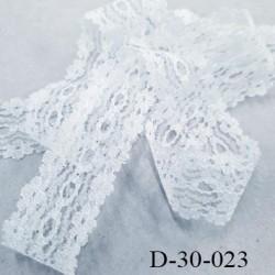 Dentelle synthétique non extensible couleur blanc  largeur 32 mm prix au mètre