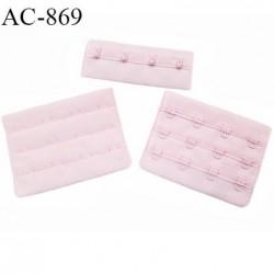 Agrafe 76 mm attache SG haut de gamme couleur rose babydoll 3 rangées 4 crochets fabriqué en France prix à l'unité