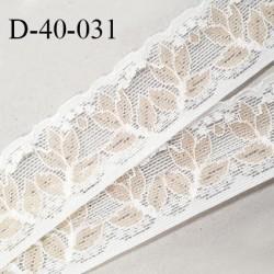 Dentelle 40 mm lycra extensible couleur blanc et beige motifs fleurs largeur 40 mm prix au mètre