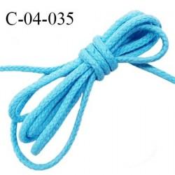 Cordon 4 mm en coton très solide couleur bleu turquoise diamètre 4 mm prix au mètre