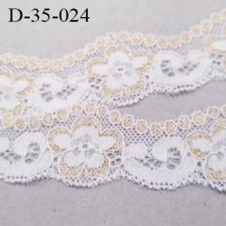 Dentelle 35 mm lycra extensible couleur blanc et or motifs fleurs largeur 35 mm prix au mètre