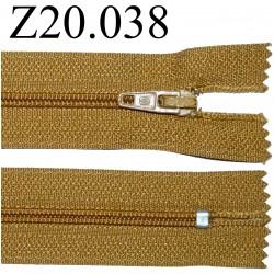 fermeture éclair longueur 20 cm couleur marron clair non séparable zip nylon largeur 2.5 cm
