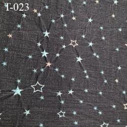 Destockage Tissu lycra très haut gamme couleur anthracite avec étoiles brodés largeur 130 cm  prix pour 10 cm  par 130 cm