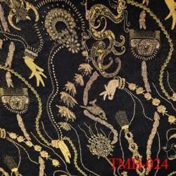 Tissu lycra pour le bain et lingerie très haut de gamme couleur noir et or avec des motifs avec des reliefs