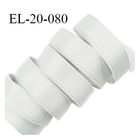 Elastique 19 mm bretelle et lingerie avec surpiqûres couleur gris bleuté brillant fabriqué en France prix au mètre
