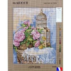 Canevas à broder 50 x 65 cm marque MARGOT création de Paris la cage d'osier d'après C.GRANIOU fabrication française