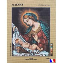 Canevas à broder 50 x 65 cm marque MARGOT création de Paris la Madone del Dito d'après C.DOLCI fabrication française