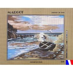Canevas à broder 50 x 65 cm marque MARGOT création de Paris coucher de soleil fabrication française