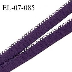 Elastique picot 7 mm lingerie couleur violet foncé haut de gamme Fabriqué en France largeur 7 mm prix au mètre