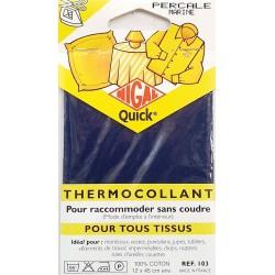 thermocollant nigal 100 % coton percale couleur BLEU MARINE dimension 12 X 45 centimètres  prix 2.45 € pour tous tissus