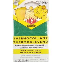 thermocollant nigal 100 % coton percale couleur VERT dimension 12 X 45 centimètres  prix 2.45 € pour tous tissus