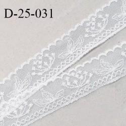 Dentelle brodée 25 mm en lycra extensible très haut de gamme avec broderie motifs fleurs couleur blanc prix au mètre