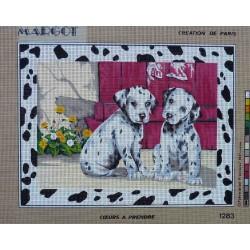 canevas 40x50 marque MARGOT DE PARIS chien dalmatien dimension 40 centimètres par 50 centimètres 100 % coton