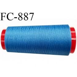 Cone 1000 m de fil mousse polyester  fil n° 110 couleur bleu  cône de 1000 mètres bobiné en France