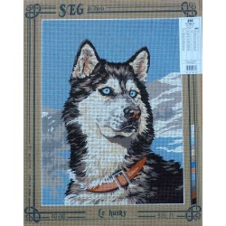 canevas 40x50 marque SEG DE PARIS chien le husky dimension 40 centimètres par 50 centimètres 100 % coton