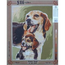 canevas 40x50 marque SEG DE PARIS chien maman beagle et son chiot dimension 40 centimètres par 50 centimètres 100 % coton