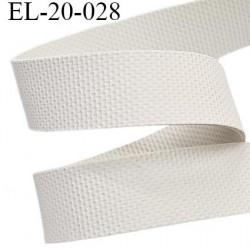 Elastique  20 mm caoutchouc gomme laminette largeur 20 mm épaisseur 0.8 mm gros grain très très résistantes couleur blanc
