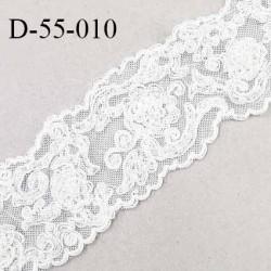 Dentelle 55 mm non extensible couleur écru avec broderies et perles largeur 55 mm prix au mètre